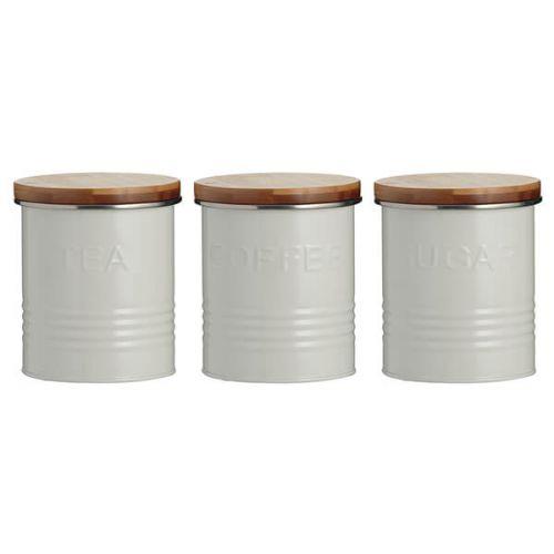 Typhoon 3 Piece Tea, Coffee, Sugar Storage Canister Set Cream