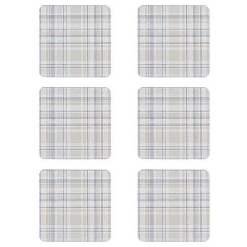 Denby Elements Checks Natural 6 Piece Coasters