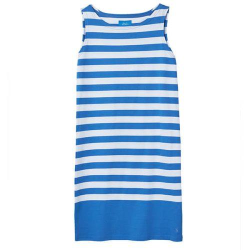 Joules Riva Blue Cream Stripe Sleeveless Jersey Dress Size 12