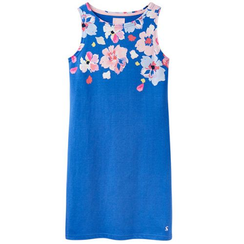 Joules Riva Print Mid Blue Border Floral Sleeveless Jersey Dress Size 12