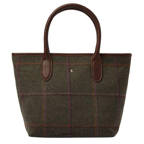 Joules Carey Dark Green Grid Tweed Grab Bag