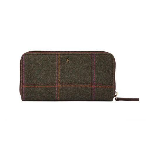 Joules Fairford Dark Green Grid Tweed Zip Round Purse