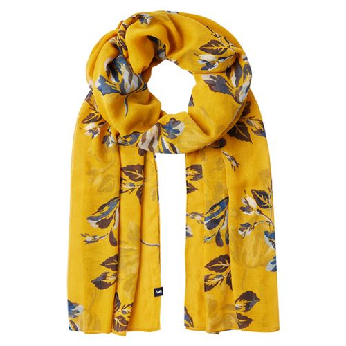 Joules Wensley Gold Floral Printed Scarf