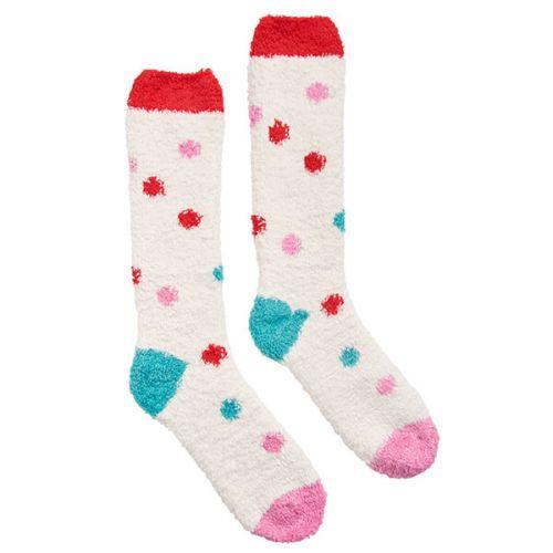 Joules Fabulously Fluffy Cream Friyay Spot Socks Size 4-8
