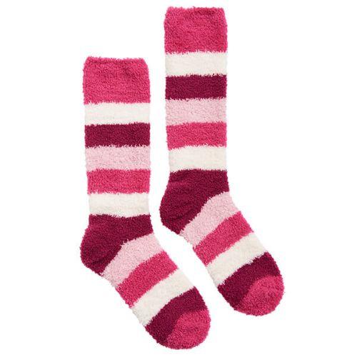 Joules Fabulously Fluffy Pink Block Stripe Socks Size 4-8