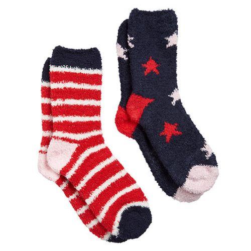 Joules Fabulously Fluffy Shortie 2 Pack Navy Multi Stripe Short Socks Size 4-8