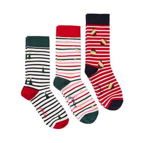 Joules Cracking 3 Pack Red Multi Stripe Socks Size 4-8