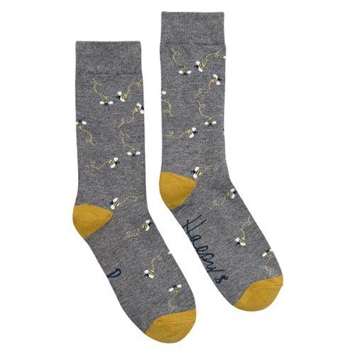 Joules Christmas Bamboo Single Grey Xmas Bee Socks Size 4-8