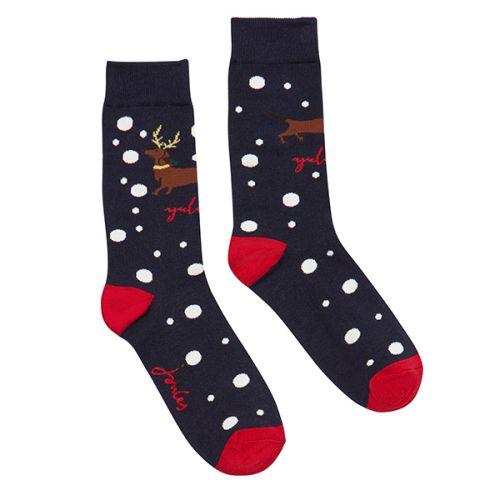 Joules Christmas Bamboo Single Navy Xmas Dog Socks Size 4-8