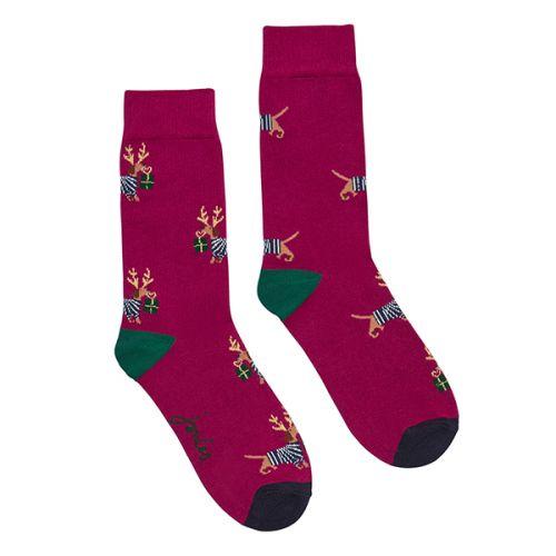 Joules Christmas Bamboo Single Purple Xmas Dog Socks Size 4-8