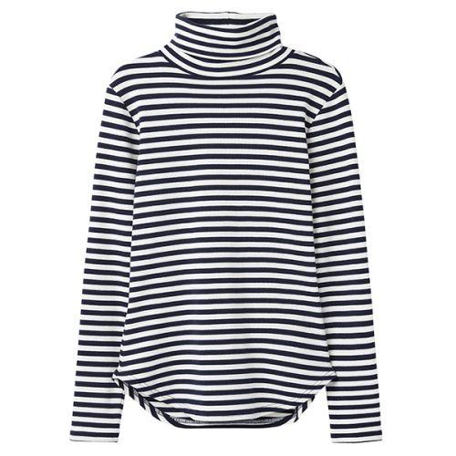 Joules Clarissa Cream Blue Stripe Roll Neck Jersey Top Size 14