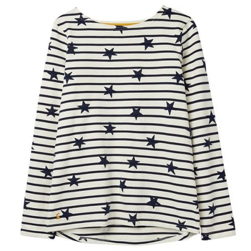 Joules Harbour Luxe Cream Navy Star Long Sleeve Jersey Top Size 8