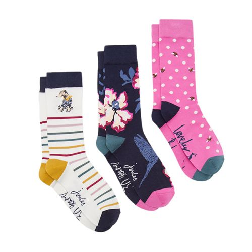 Joules Brilliant Bamboo 3 Pack Anniversary Floral Bamboo Socks Size 4 - 8