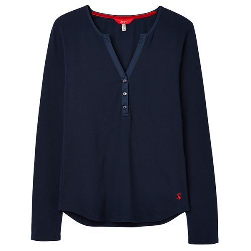 Joules Cici French Navy Long Sleeve Ribbed Jersey Top Size 10