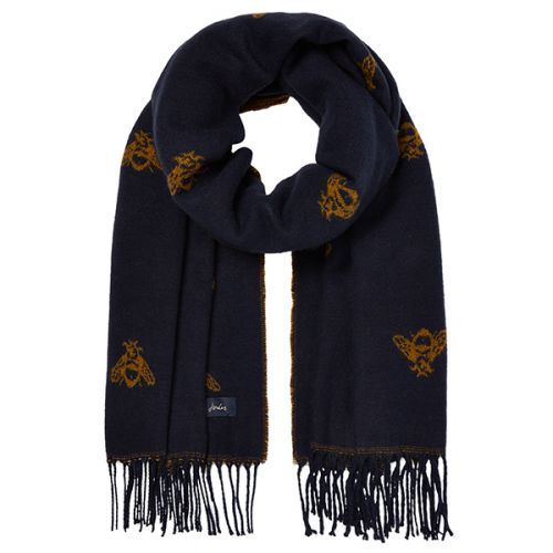 Joules Mardale Navy Bees Reversible Scarf