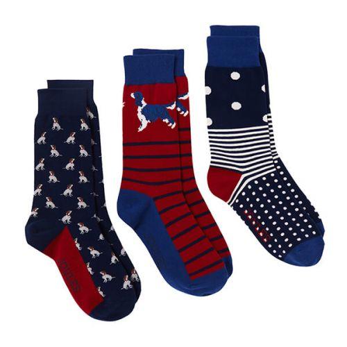 Joules Dog Striking 3 Pack of Socks Size 7 -12
