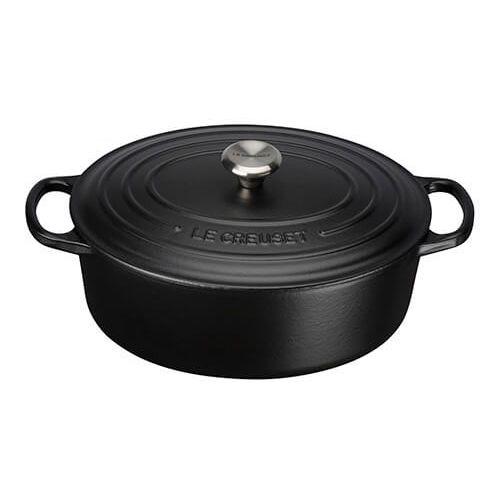 Le Creuset Signature Satin Black Cast Iron 27cm Oval Casserole