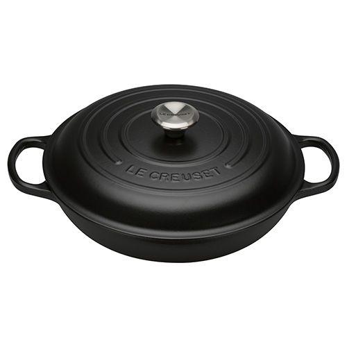 Le Creuset Signature Satin Black Cast Iron 30cm Shallow Casserole