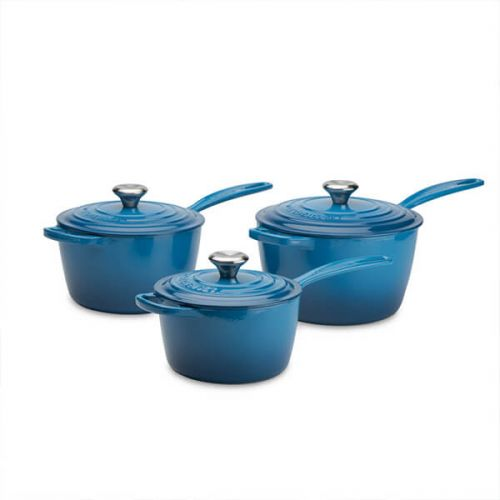 Le Creuset Signature Marseille Blue Cast Iron Saucepan Set