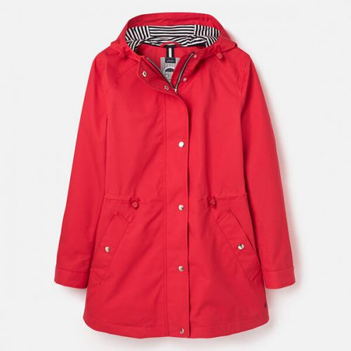 Joules Red Shoreside Waterproof Coat With Stripe Jersey Lining Size 14