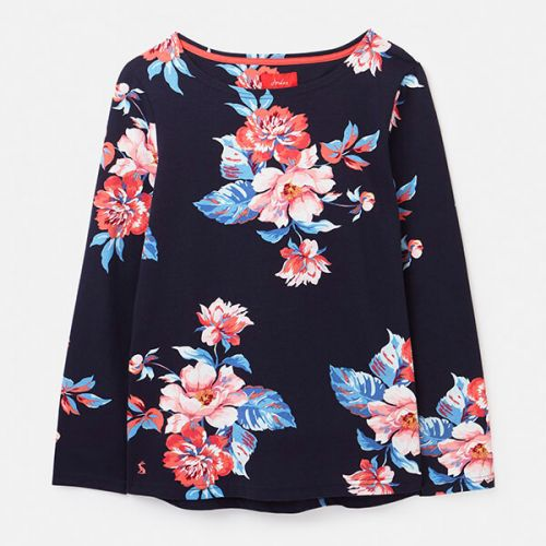 Joules Navy Floral Harbour Print Long Sleeve Jersey Top Size 8