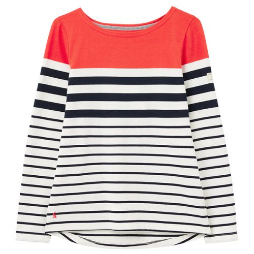 Joules Cream Navy Red Stripe Harbour Long Sleeve Jersey Top Size 18