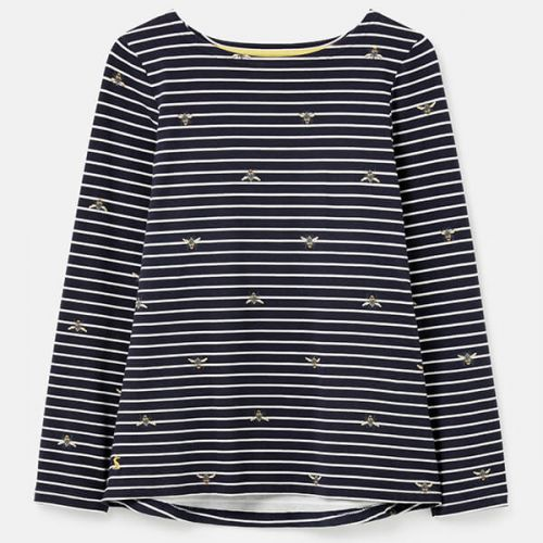 Joules Bee Stripe Harbour Print Long Sleeve Jersey Top Size 22