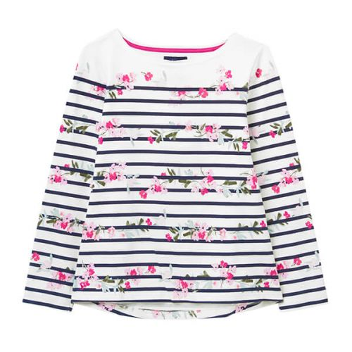 Joules Cream Floral Stripe Harbour Print Long Sleeve Jersey Top Size 22