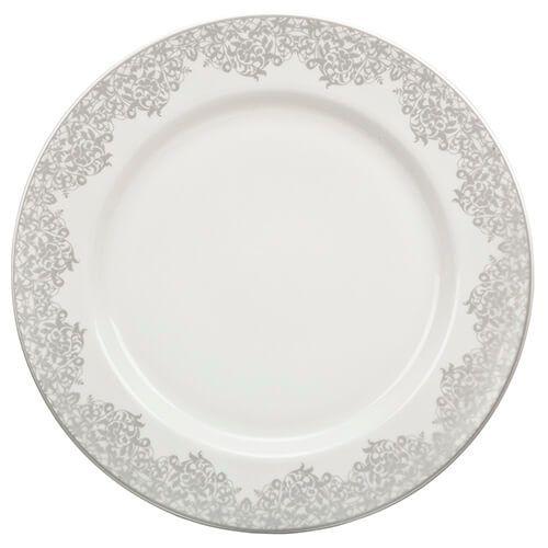 Denby Monsoon Filigree Silver Dinner Plate