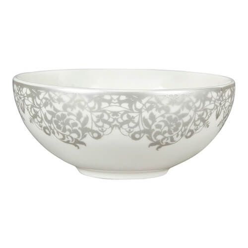 Denby Monsoon Filigree Silver Dessert Bowl