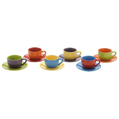 BIA Set of 6 Espresso Cups & Saucers Assorted Colours