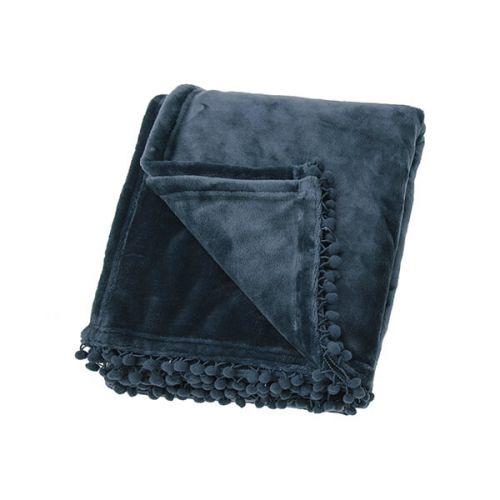 Walton & Co Cashmere Slate Blue Touch Fleece Throw