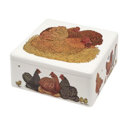Vanessa Lubach Chickens Large Square Tin