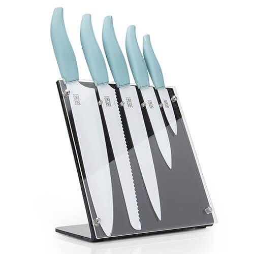Taylors Eye Witness Soft Grip Aqua / White 5 Piece Upright Knife Block Set