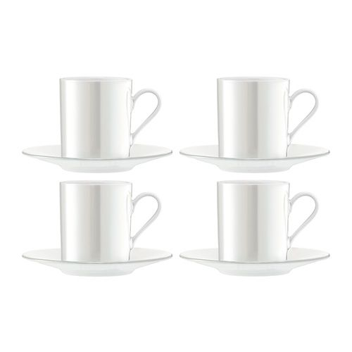 LSA Pearl Espresso Cup & Saucer 100ml Set Of 4