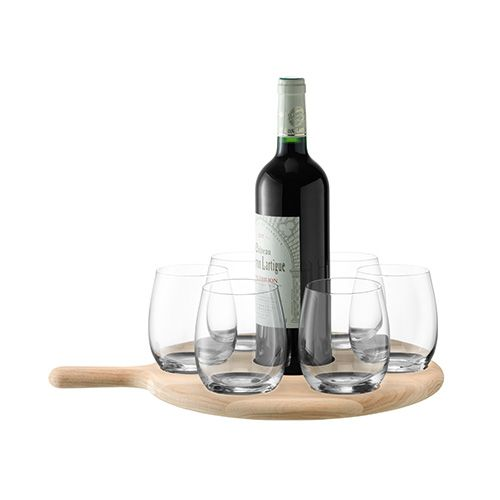 LSA Paddle Water / Wine Serving Set & Oak Paddle 40cm Clear