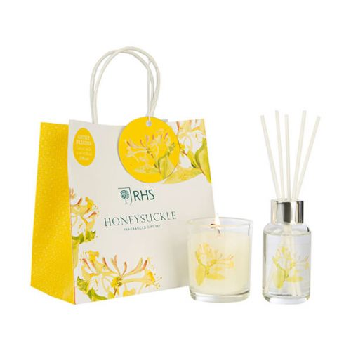 Wax Lyrical RHS Fragrant Garden Honeysuckle Candle & Reed Diffuser Gift Set