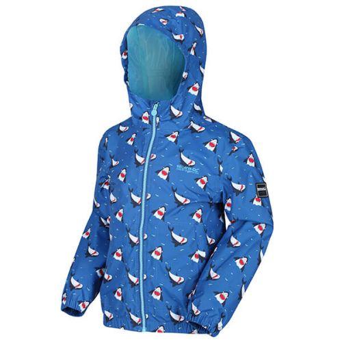 Regatta Kids Ellison Printed Lightweight Waterproof Hooded Jacket Nautical Blue