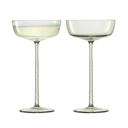 LSA Champagne Theatre 190ml Champagne Saucer Braid / Smoke Grey Set Of 2
