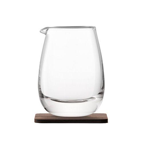 LSA Whisky Islay Jug 300ml Clear With Walnut Coaster