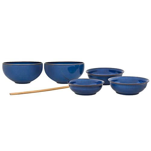 Denby Imperial Blue 7 Piece Asian Set