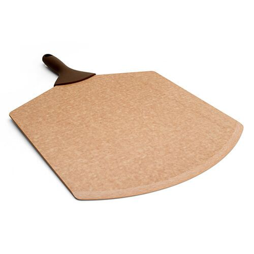 "Epicurean Signature Wood Composite 21"" x 14"" Natural Pizza Peel With Brown Silicone Handle"