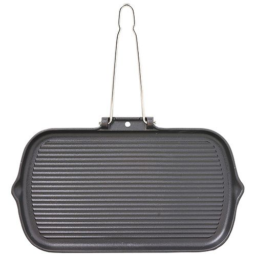 Chasseur Cast Iron Matt Black Rectangular Smooth Base Grill Pan With Fold Away Wire Handle