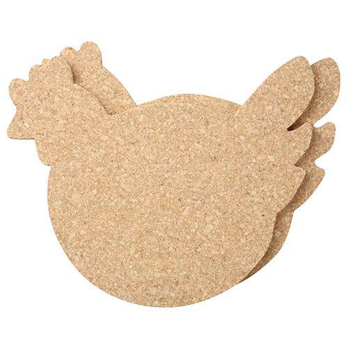 T&G Set Of 4 Chicken Cork Coasters