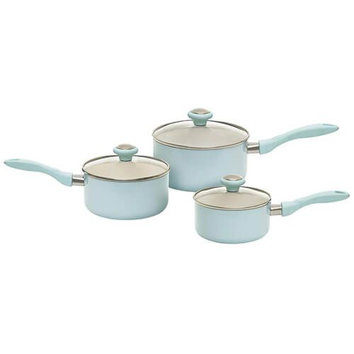 Prestige Pastels Duck Egg Blue Non-Stick 3 Piece Induction Saucepan Set