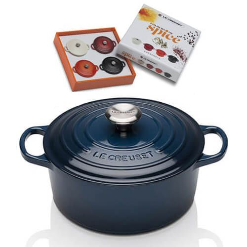 Le Creuset Signature Ink Cast Iron 24cm Round Casserole With FREE Gift