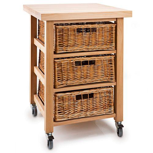 Eddingtons Lambourn Vegetable 3 Basket Kitchen Trolley