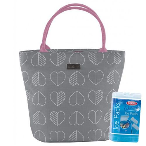 Navigate Beau & Elliot Confetti Outline Slate Insulated Lunch Tote FREE Thermos Set Of Two Ice Packs 400g