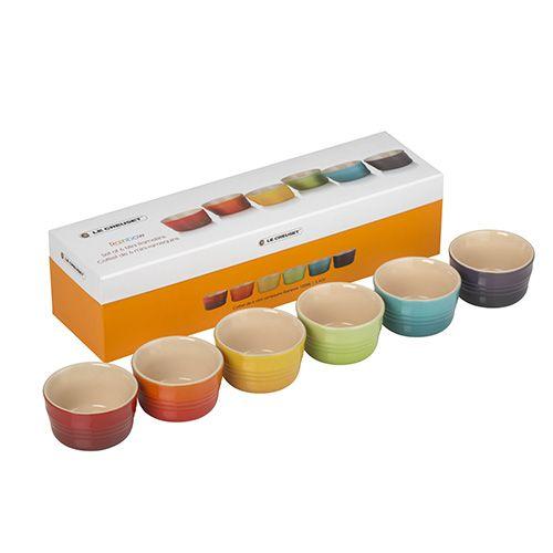 Le Creuset Rainbow Stoneware Set of 6 Mini Ramekins