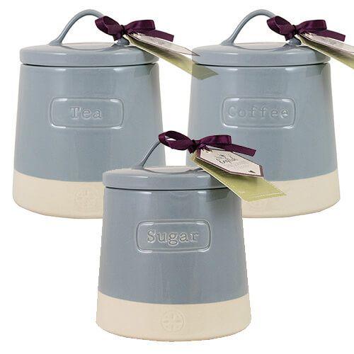 English Tableware Company Blue Tea Coffee Sugar Canister 3 Piece Set